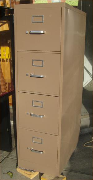 tan file cabinet