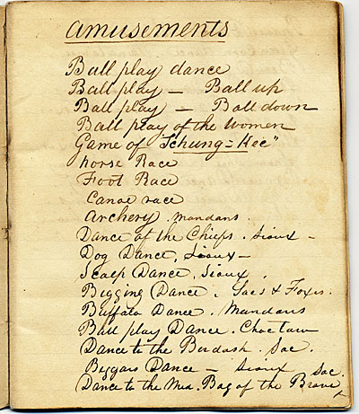 George Catlin list, Amusements