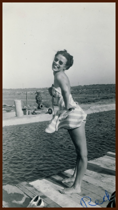 Red at the beach ~ 1940s?