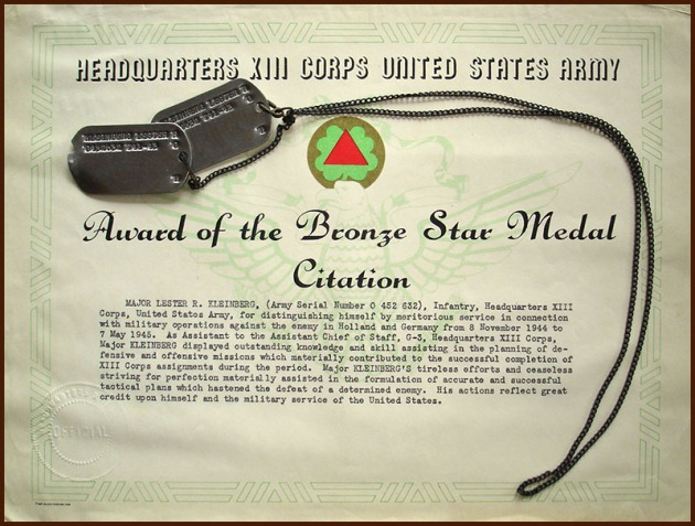 LRK tags and bronze star certificate