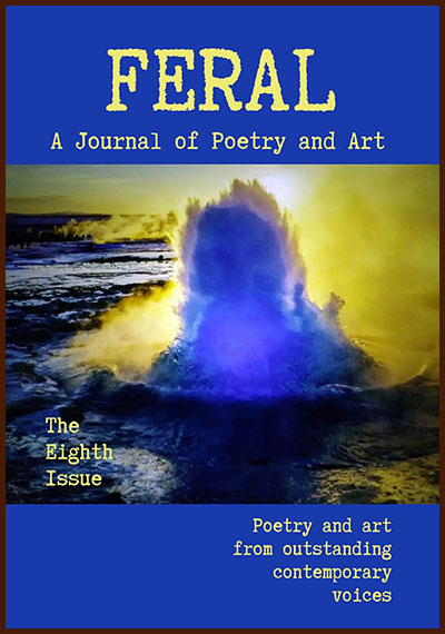 Journal cover with photo of explosive crashing wave in blues and yellows