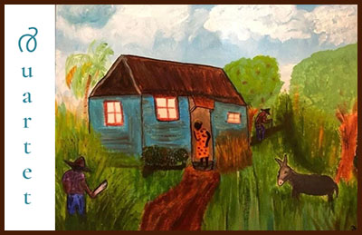 painting of a cabin with lights on inside, a woman standing in the doorway, and man and a mule in the yard